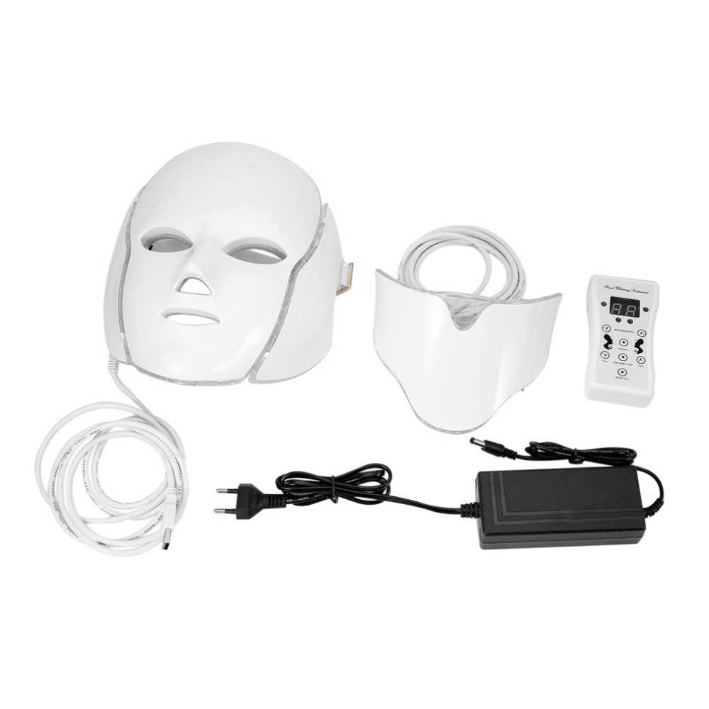 LED 7Colors Light Microcurrent Facial Mask Machine Photon Therapy Skin Rejuvenation Facial Neck Mask Whitening Electric Device electric iontophoresis red led light photon therapy ems microcurrent face lifting skin tightening facial tonner beauty device