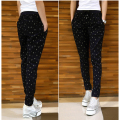Large size women winter thickening pencil pants black elastic waist fat sister high waist print dots warm casual pants XXL 5XL