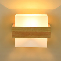 YOOK Wood Wall Lamp Bedside Lamp Simple Warm Solid Wood Square Aisle Creative New Chinese Style Japanese Wall Lamp 220v 110v E27