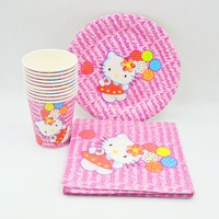 40pc Set Hello Kitty Theme Cup Plate Napkin Party Supplies For Boys Event Party Decorations Hello