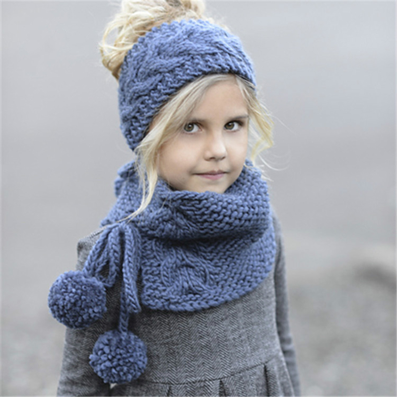 Two Knitted hair with hat and collar scarf set for kids crochet headgear soft warm hat baby winter beanies kids scarf hat suits a set of chic rhombus pattern color block knitted hat scarf and gloves for women