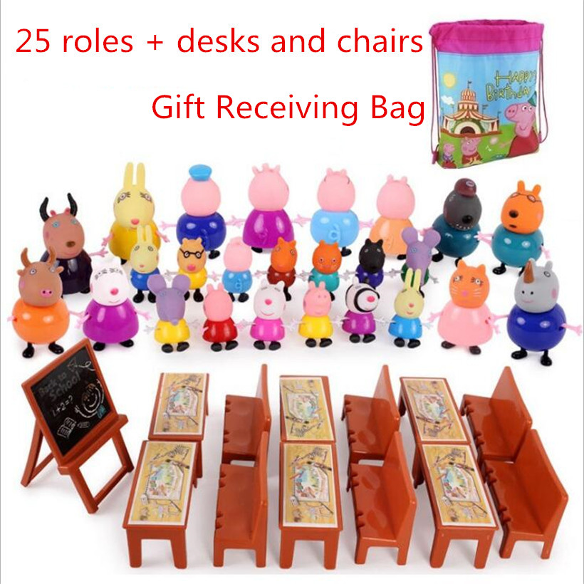 Fashion Styles Original Peppa Pig Doll Family George Dad Mom Grandma Grandpa Action Figure Pelucia Toys For Children Gifts