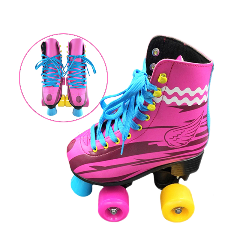 BSTFAMLY Children Double Row Figure Roller Skates Two Line Roller Skating Unisex Patines For Kids Red