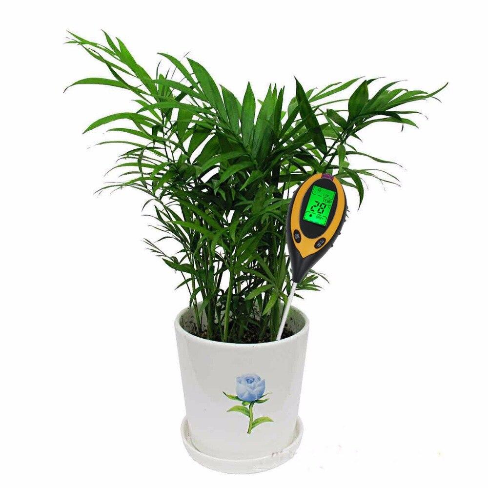 Pantalla LCD de 4 In1 Planta flores Estudio del suelo instrumento medidor de PH temperatura humedad luz del sol Tester para la Agricultura 20%