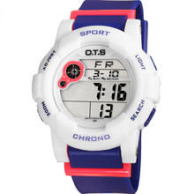 O.T.S 2017 Brand Children Digital LED Display kids watches Cocuk kol saati Rubber Strap Waterproof Students Gifts Wristwatches