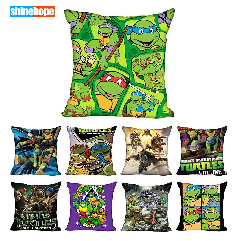 40X40cm(one Sides) Pillow Case Modern Home Decorative Teenage Mutant Ninja Turtle Pillowcase For Living Room Pillow Cover