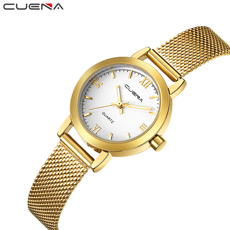 CUENA Fashion Gold Ladies Watches Top Brand Luxury Women Quartz Watch Stainless Steel Wristwatches Relogio Feminino Reloj Mujer top ochstin brand luxury watches women 2017 new fashion quartz watch relogio feminino clock ladies dress reloj mujer