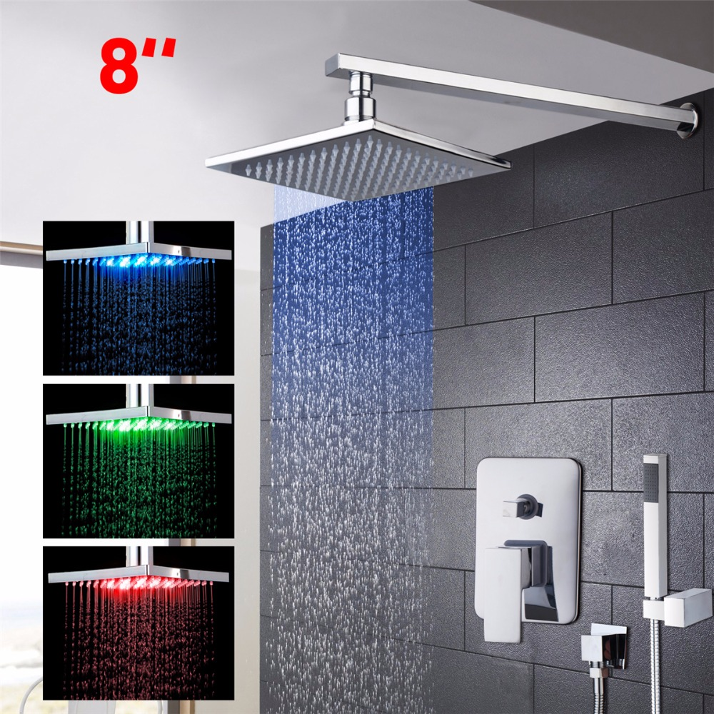 цена на Shower Sets Bath LED Waterfall Rain Faucet Shower Hand Chrome Finish Bath Shower Mixer Faucet Set Single Handle With Handshower