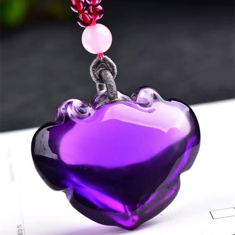 Wholesale Purple Natural Crystal Pendant Carved Ruyi Lock Pendant Sweater Chain Necklace Luck for Women Wish JoursNeige Jewelry цена