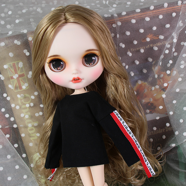 ICY blyth doll matte face white skin golden curls hair suit doll with teeth lips eyebrows 30cm DIY BJD SD gift