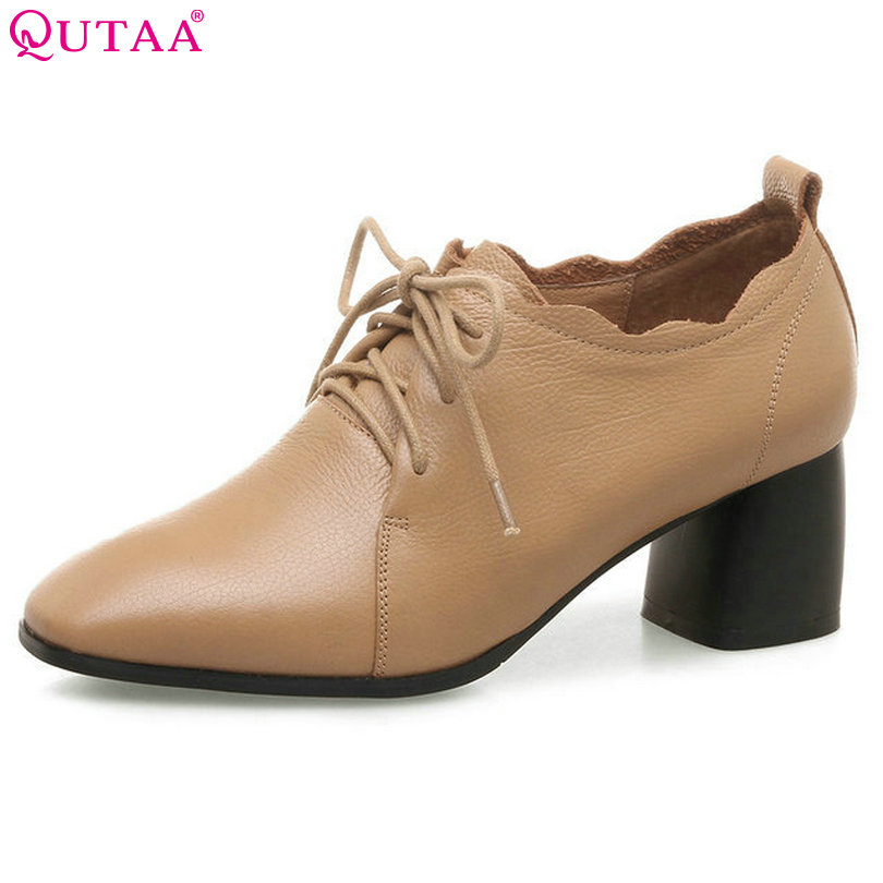 QUTAA 2018 Women Pumps Lace Up Fashion Woman Shoes Genuine Leather +pu Square High Heel Platform Ladies Casual Pumps Szie 34-42 nayiduyun women genuine leather wedge high heel pumps platform creepers round toe slip on casual shoes boots wedge sneakers