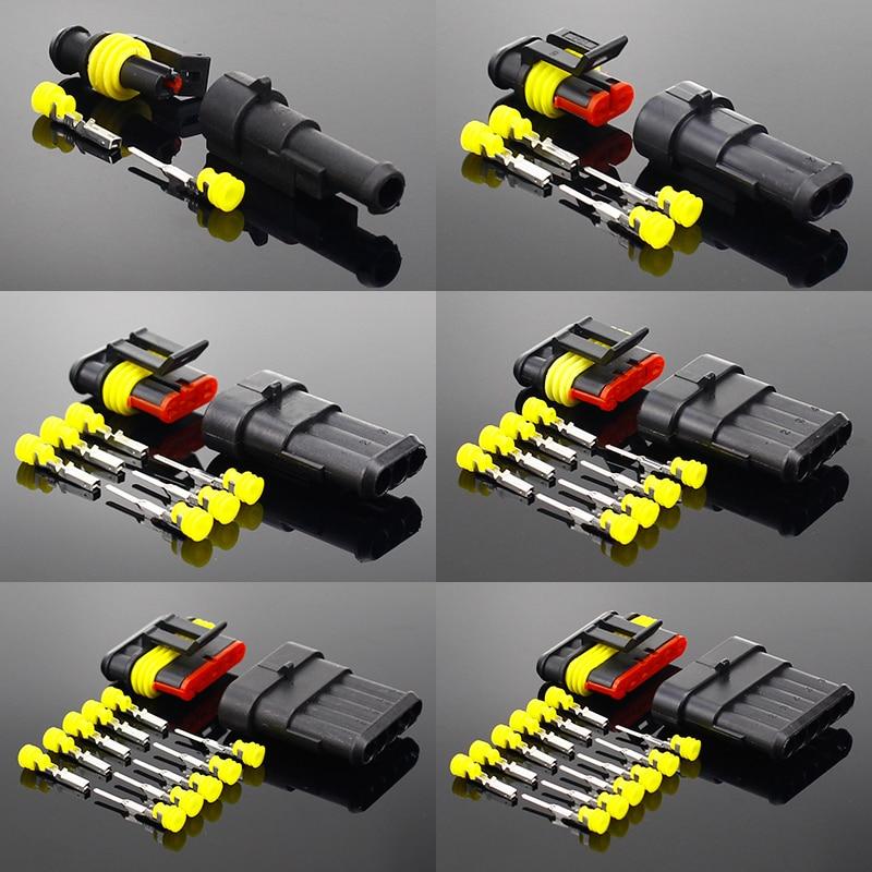 Водонепроницаемый Электрический коннектор Way AMP для автомобиля, 2-5 комплектов, 2 pin, 1/2/3/4/5/6 pin, суперуплотнение
