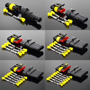 Zestaw 2-5 zestawów 2 pin 1 2 3 4 5 6 pins Way AMP Super uszczelnienie wodoodporna wtyczka przewodu elektrycznego do wodoodpornego złącza samochodowego tanie i dobre opinie ELECAPITAL CN (pochodzenie)