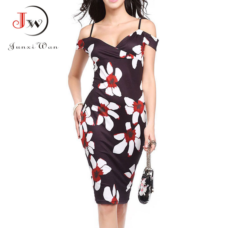 01eee01d3088 Sexy Tight Bodycon Office Party Sheath Dresses Women Summer Off Shoulder Floral  Print Elegant Vintage Pencil Dress Vestido Robe-in Dresses from Women s ...