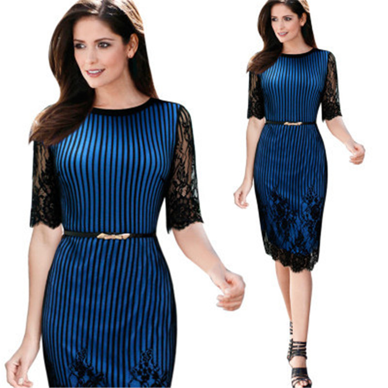 e500d008e1a Short Lace Dress For Party Dresses Women Summer Elegant Belt Blue Navy  Striped Straight Half Sleeve Slim Casual Vestidos