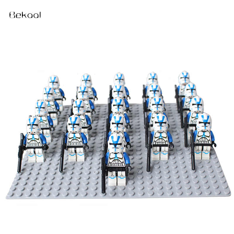 NUOVO 21 pz/lotto star Wars Blu Clone Trooper 501st CLONE LEGION TROOPER SW445 compatibile legoe 75002 Building block giocattoli Per Bambini