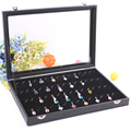 High-end Black Jewelry Storage Box Ring Earring Case Necklace Pendants Showcase Jewelry Accessories Box With Glass Cover