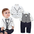 Newborn Baby Boys Clothes Set Gentleman Striped Tie Romper + Jacket Coat 2pcs Clothing Set Infant Boy Set New Born Baby Outfit