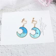 Japan Korean Cute Creative Gradient Blue Star Moon Fresh Sweet Woman Girls Clips Hook Earrings Fashion Jewelry-LAF