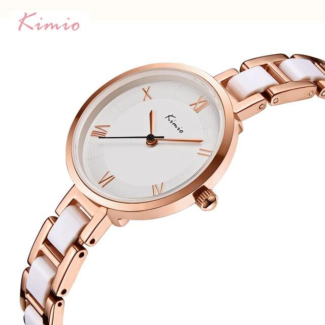 KIMIO Women White Imitation Ceramic Bracelet Watches Simple Big Dial Ladies Quar
