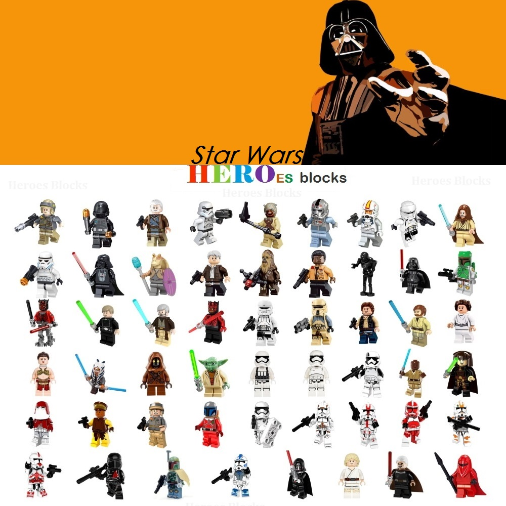 1 шт. солдат из звездных войн Дарт Вейдер Хан Соло строительные блоки джедай Йода Оби Ван Боба Фетт кубики числа игрушки, подарки, совместимо ...