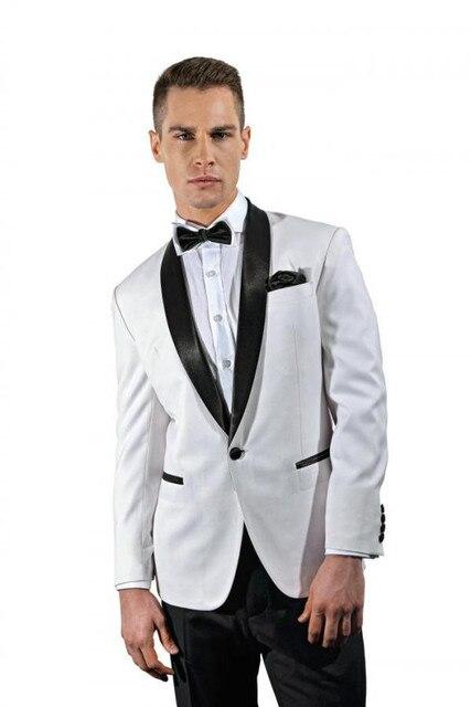 One Button Shiny custom made Groomsman Slit Fit White Groom Tuxedos ...