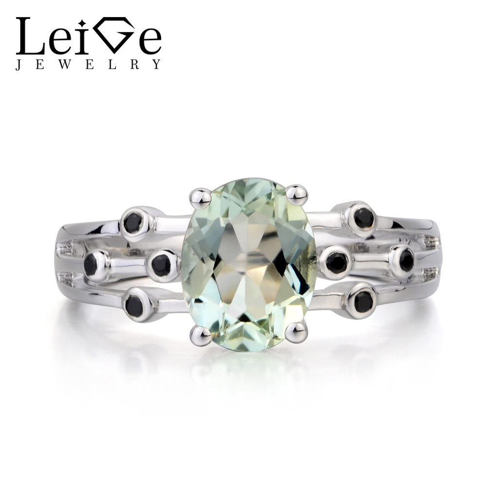 Leige Jewelry Natural Green Amethyst Ring Promise Ring Oval Cut Green Gemstone Ring 925 Sterling Silver Ring Gifts for Girls leige jewelry solitaire ring natural green amethyst ring anniversary ring emerald cut green gemstone 925 sterling silver gifts