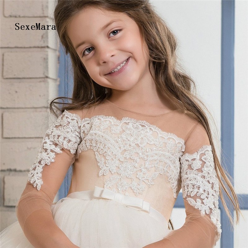 2018 White Flower Girl Dress Child Crew Neck Mesh Lace Ball Gowns Kids Holy Communion Dresses 1-16Year Old