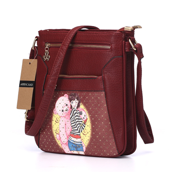 Women Messenger Bags Pu Leather Flap Bag Cartoon Printing Shoulder Crossbody Bag Double Zipper Bag 1