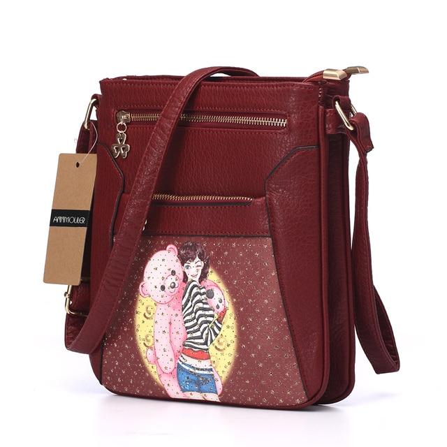 Women Messenger Bags Pu Leather Flap Bag Cartoon Printing Shoulder Crossbody Bag Double Zipper Bag 1