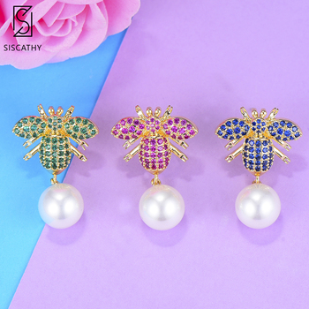 SISCATHY Top Quality Charms Simulated Pearl Earrings Jewelry Rhinestone Full CZ Crystals Earrings For Women Fashion Jewelry image