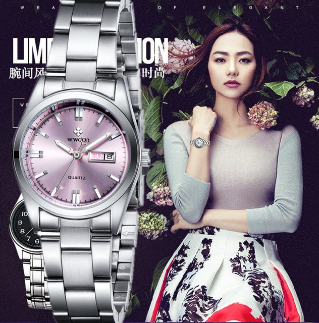 WWOOR Casual Women Watches New Famous Brand Fashion Luxury Watch Ladies Female Clock Pink Relogio Montre Reloj Mujer