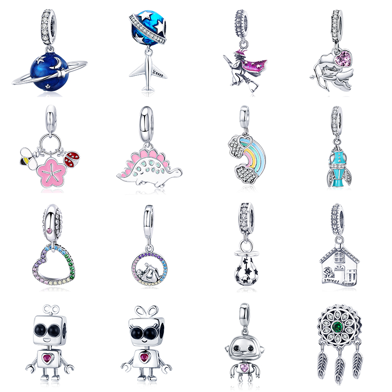 Silver 925 fit Pandora Bracelet Galaxy Alien Robot Airplane Charms Enamel Dog Rainbow House Ball Broom Beads for Bangle Making in Charms from Jewelry Accessories
