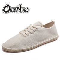 OUDINIA Hemp Rope Sewing Men Shoes Lace Up Casual Breathable Summer Shoes Male Espadrilles Uomo Shoes Men 2018 Breathable