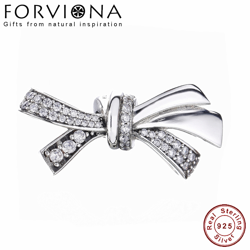 100 Real 925 Sterling Silver Brilliant Bow Charm With Cz