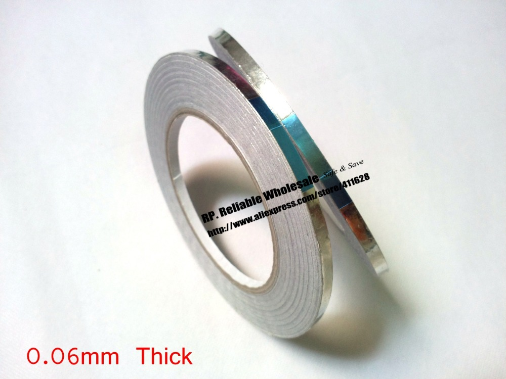 Promotion! 2PCS 5mm* 40 Meters *0.06mm Adhesive Aluminum Foil Tape For Radiation-Resistant EMI Shielding *FREE SHIPPING*