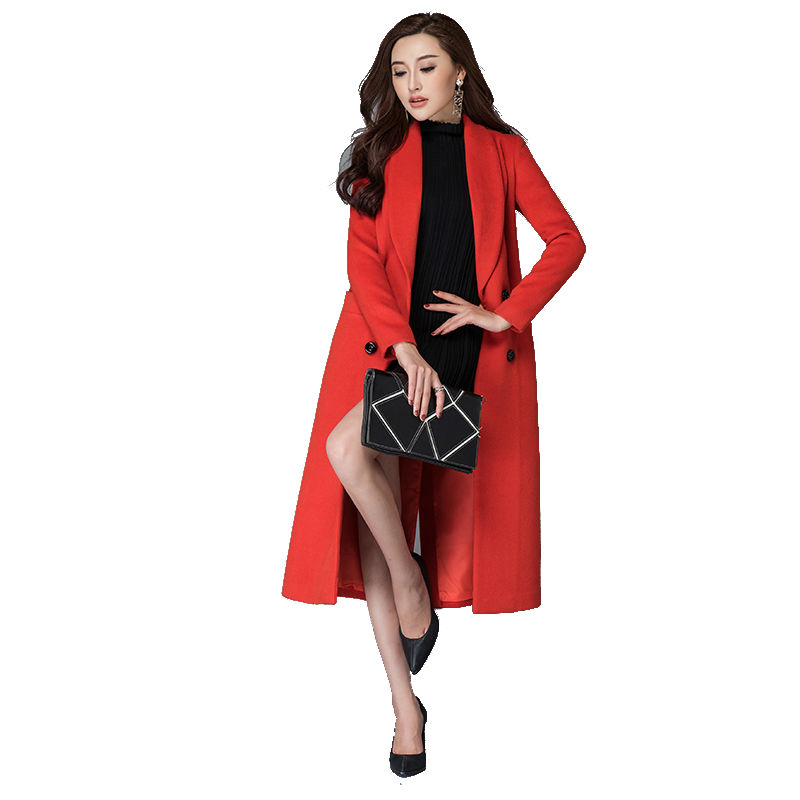 Cashmere Coat 2016 Winter New Fashion Woman Woolen Overcoat Solid Color Double Breasted Medium-long Female Outwear Red Black