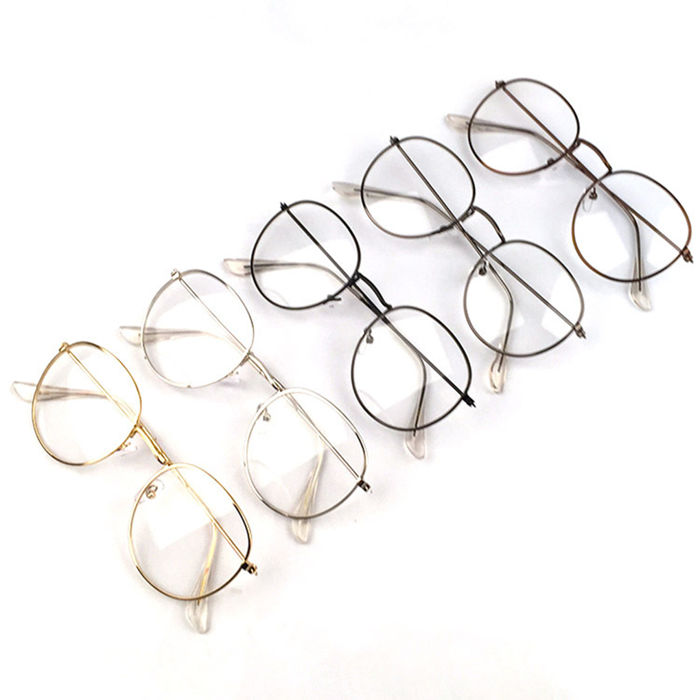 Popular Metal Printing Round Large Frame Glasses Unisex Decorative Spectacles Lightweight Clear Lens Retro Eyewear