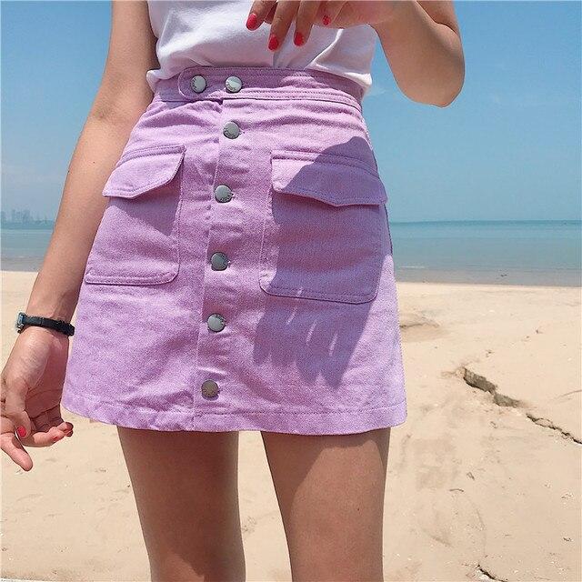 d4049c1e56 Summer Fashion Women Denim Skirt Jeans High Waist Ripped Slim Fit Mini  Pencil Skirts Purple Pink Khaki White Black Button