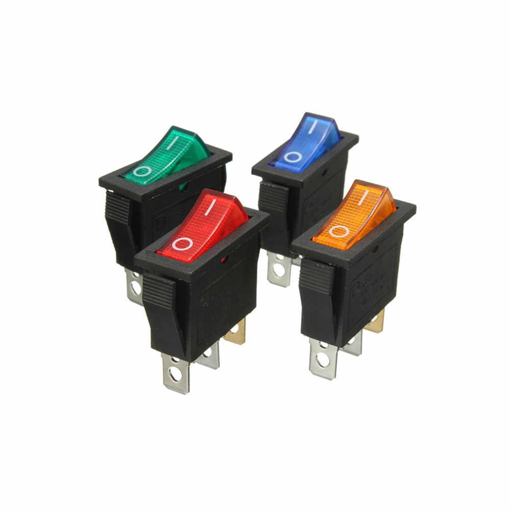 KCD3 Rocker Switch On-Off 2 Posisi 3 Pin Peralatan dengan Lampu Saklar Daya 16A 250VAC/20A 125VAC