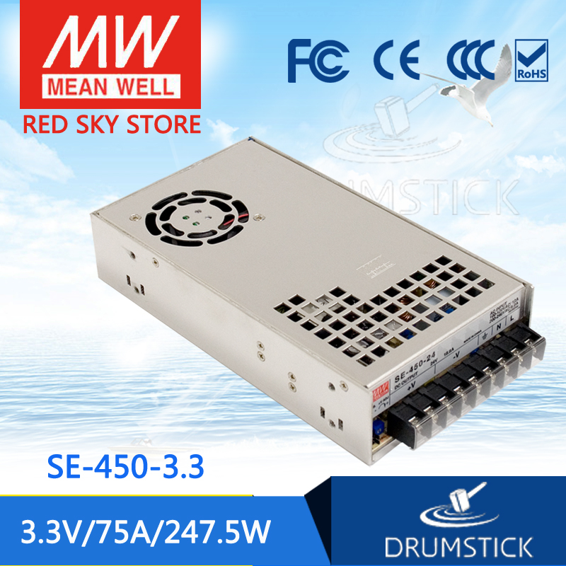 hot-selling MEAN WELL SE-450-3.3 3.3V 75A meanwell SE-450 3.3V 247.5W Single Output Power Supply [Real1] best selling mean well se 200 15 15v 14a meanwell se 200 15v 210w single output switching power supply