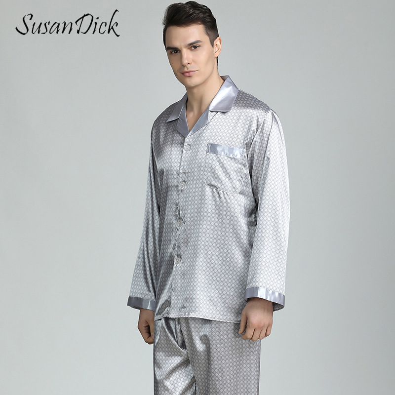SusanDick Luxury Men Pajama Sets Brand Summer Thin Chinese Silk Sleepwear Man Long Sleeve Satin Pajamas Dot Nightwear And Pants