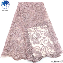 BEAUTIFICAL latest lace french fabric flower embroidery bridal with glitter sequins 5yards/set ML35N64