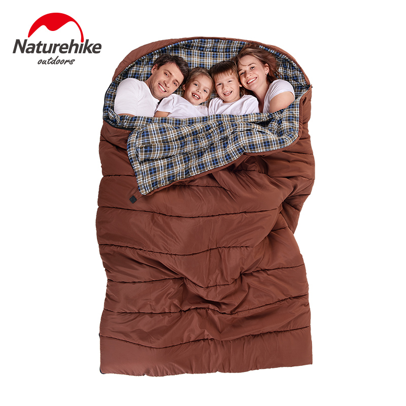 Naturehike family's style travel sleeping bag Outdoor camping one piece double three family road trip travel cotton sleeping bag