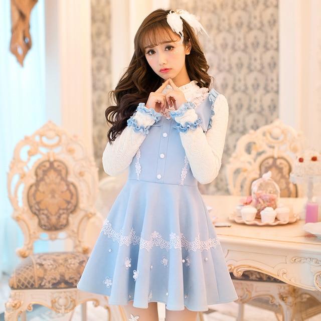 Candy Rain High Quality Princess Sweet Lolita Blue Dress Autumn