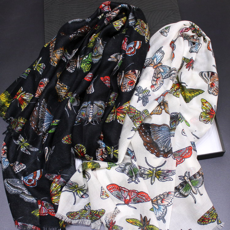 100% cachemire écharpe femmes mode automne hiver chaud châle manteau enveloppes foulards Foulard papillon motif volant 200*100 cm