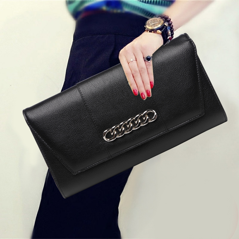 Fashion Chain Decoration Clutch Wallet Top Leather Solid Color Envelope Purse Elegant Women Modern Shoulder Crossbody Bag GiftsFashion Chain Decoration Clutch Wallet Top Leather Solid Color Envelope Purse Elegant Women Modern Shoulder Crossbody Bag Gifts
