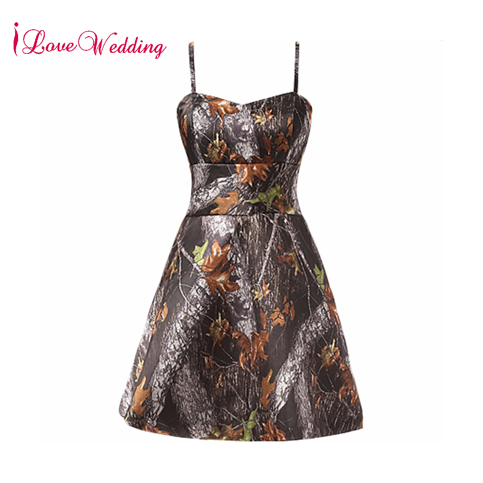 iLoveWedding 2018 Real Photo Camo Short   Cocktail     Dress   Sexy Spaghetti Straps A Line Cheap Camo   Dresses