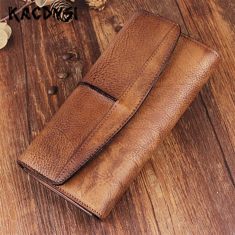 Genuine Leather Vintage Designer Unisex Long Wallet Natural Cow Leather Trifold Card Wallet Ladies Large Capacity