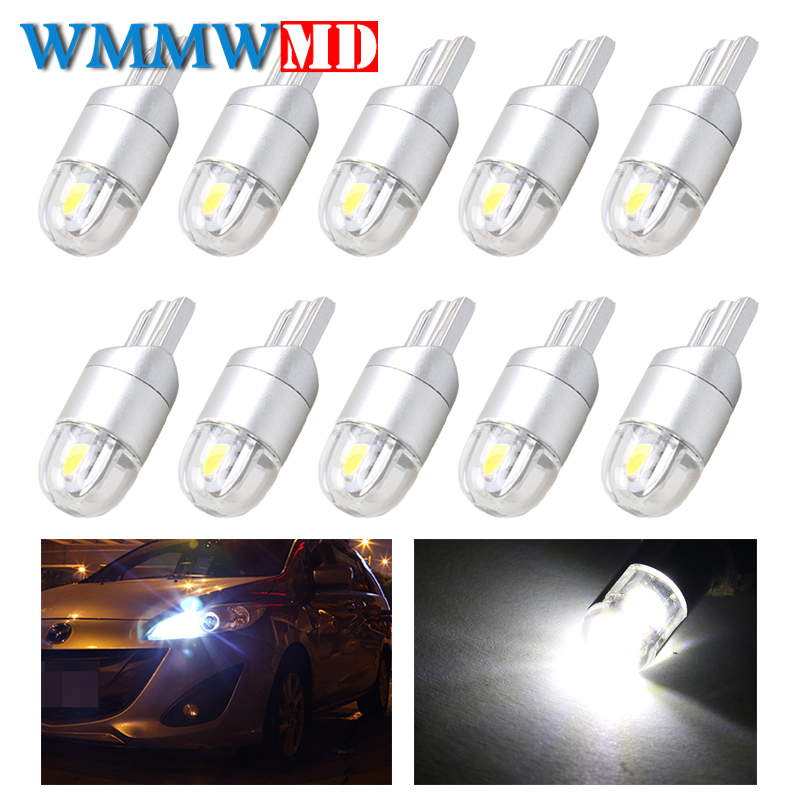 10pcs T10 W5W 194 168 LED 3030 2SMD Car Parking Side License Plate Bulb Interior Reading Lamp Wedge Dome Turn Signal Light 12V